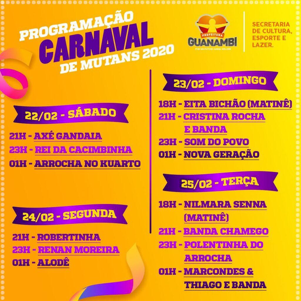Programação do Carnaval de Mutans